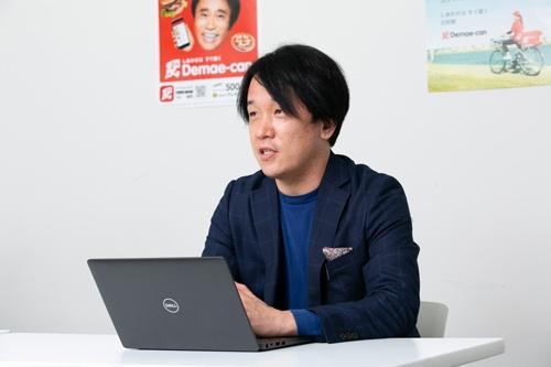 出前館次期社長のLINE藤井英雄・執行役員 O2OカンパニーCEO。(写真=的野弘路)