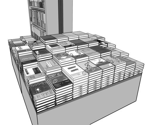 平台への本の積み方一つにも書店員の意図がある。奥への見通しを遮らないよう、平台の端には本を高く積まない(イラスト:鈴木浩平)