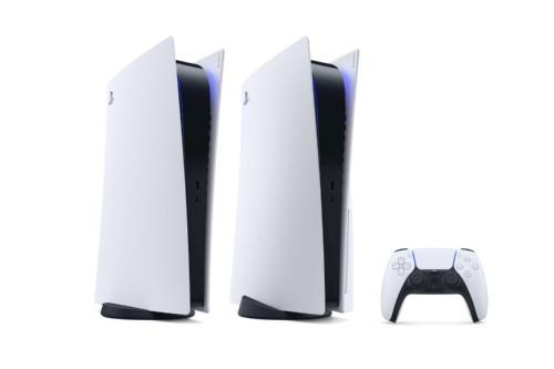 新型PS5。右側の本体が光ディスクドライブを搭載したモデルで、左側が非搭載モデル(出所:SIE)