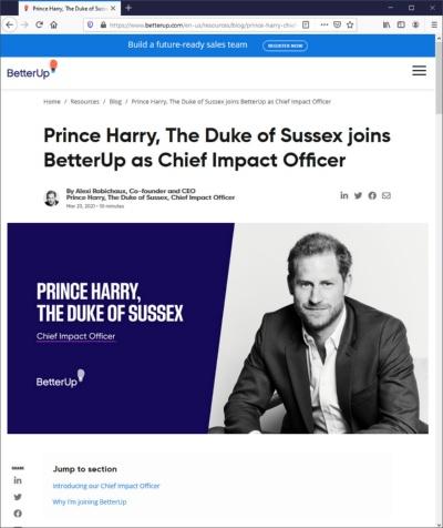メンタルヘルス向上のアドバイスを与えるスタートアップ米ベターアップの最高インパクト責任者に就任した、英国のヘンリー王子(出所:米ベターアップ)