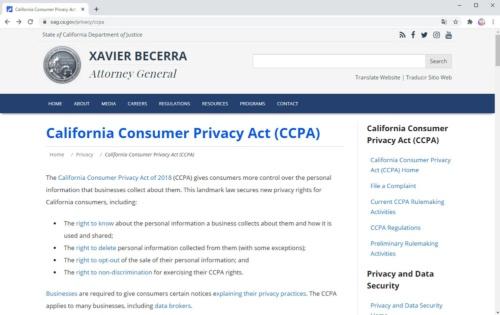 米カリフォルニア州の消費者プライバシー法(CCPA)のページ