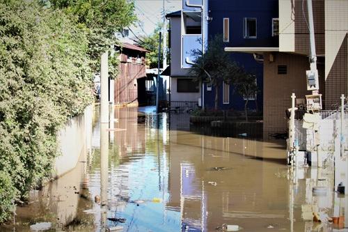 2019年10月に関東圏を襲った台風19号で浸水した川崎市内の住宅地の様子