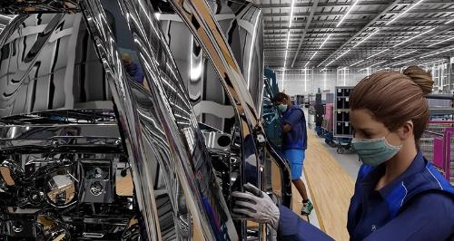 BMWのバーチャル工場では作業員の動きを模したデジタルヒューマンが動き、生産ラインの流れを検証できる