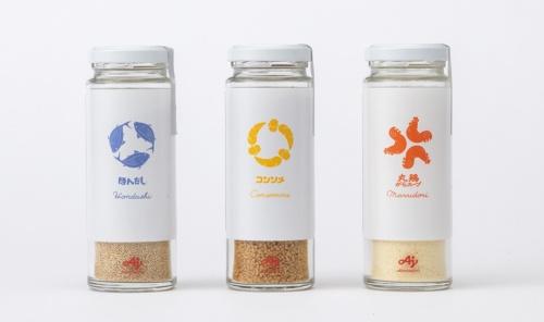 味の素のLoop商品は、「ほんだし」「コンソメ」「丸鶏がらスープ」という3種類の顆粒調味料。細長いスタイリッシュなガラス瓶の容器を採用