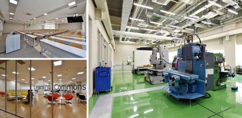 京都太秦キャンパス南館(工学部棟)1階の機械工房には、専門スタッフを配置。講義室に加え、少人数でのグループワークがしやすい「ラーニングコモンズ」なども各階に用意している。南館には、国際学生寮も併設され、国内学生と留学生が生活をする