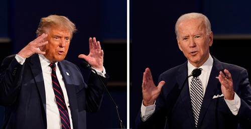 第1回のテレビ討論は批判合戦に終始し、政策をめぐる議論はほとんど行われなかった(写真:AP/アフロ)
