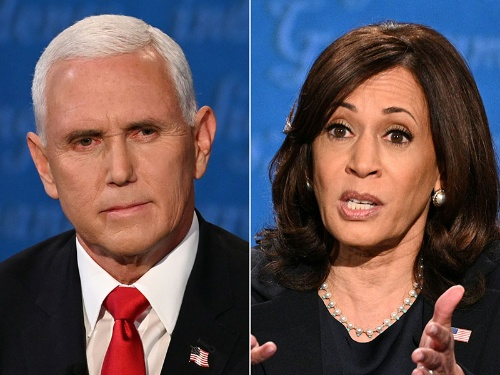 副大統領候補による討論会が実施された。白人男性でキリスト教福音派のペンス氏(左)と、黒人女性のハリス氏。共和、民主両党の文化を象徴するような2人だ(写真:AFP/アフロ)