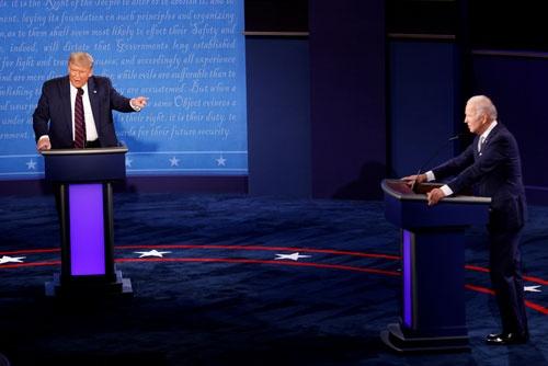 9月29日に開かれた初回の大統領選テレビ討論会は過去3番目となる約7300万人が視聴した(写真:ロイター/アフロ)