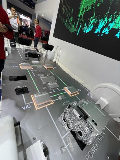 モーターや制御用半導体ユニットなどをそろえ自動運転EVを実現