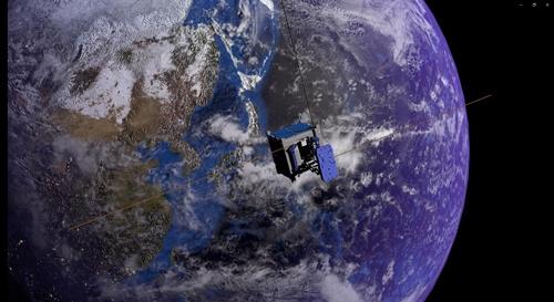 シグナス補給船に積み込まれていた自撮り衛星は、アームを伸ばして衛星自身と地球を撮影する(イメージ画像)