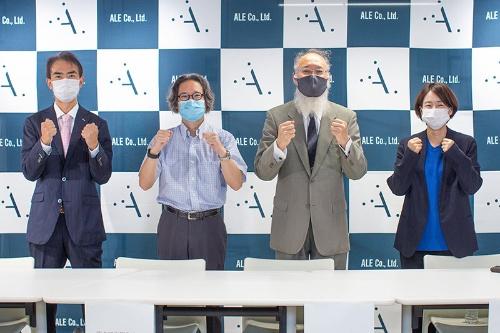 岡島礼奈エールCEO(最高経営責任者)(右)らが会見し、災害予防への意気込みを語った