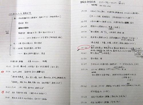 震災記録ノート(提供:三陸鉄道)