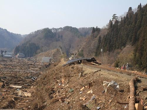 駅前が壊滅した田老駅。2011年3月13日(提供:三陸鉄道)