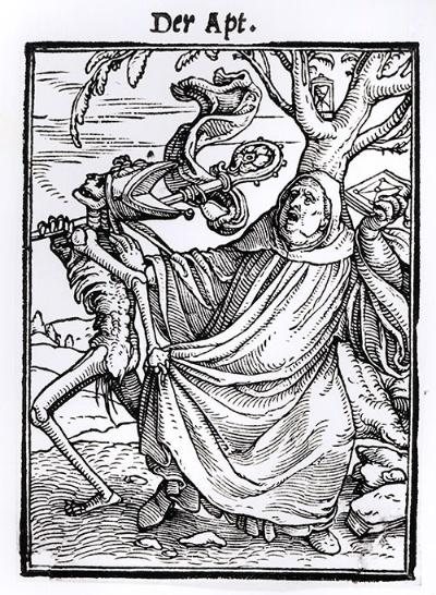 ハンス・ホルバイン「修道院長」(Death and the Abbot 版画集出版は1538)(写真:Bridgeman Images/アフロ)
