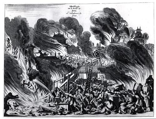 「明暦の大火」(アルノルドゥス・モンタヌス著『東インド会社遣日使節紀行』より)The Great Fire in Edo 1657(提供:ユニフォトプレス)