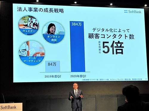 ソフトバンクの宮内謙社長(当時、現会長)は決算会見でオンライン営業の成果を強調した