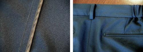 縫い合わせた面にパイピングテープを当てて縫う「フルパイピング」処理(写真左)。ポケットの縁をD字形に縫って補強する「D管留め」(同右)