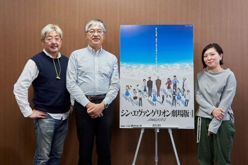 『シン・エヴァ』のマーケティング施策について聞いた。写真は左から東映の紀伊宗之氏、グラウンドワークスの神村靖宏氏、カラーの島居理恵氏