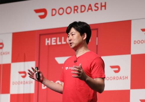 2021年6月9日のドアダッシュ日本進出記者発表会に登壇する山本氏。仙台市を選んだ理由の1つとして都市だけでなく郊外の顔も持ち合わせていることを挙げ、空白地帯となっている郊外の市場開拓に力を入れる方針を示している