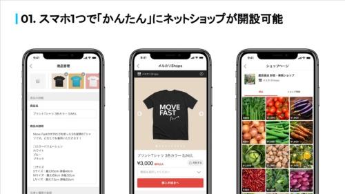 メルカリShopはスマートフォンからネットショップを開設でき、メルカリに近いインターフェースを採用していることからメルカリに出品する感覚で商品の販売や在庫管理ができるという