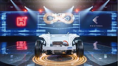 鴻海が開発したEVプラットフォーム「MIH」。自動車開発の参入障壁を大きく下げる。