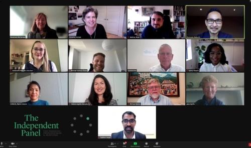 独立パネルでの私のオンライン送別会で、世界から集まった事務局の集合写真