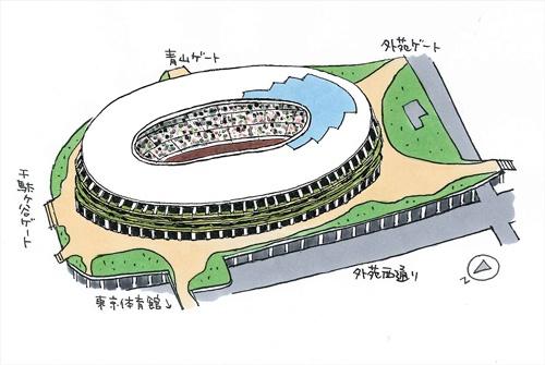 国立競技場の全体イメージ(イラスト:宮沢 洋)