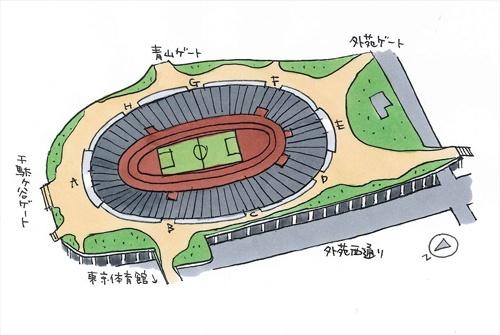 大きくは5方向にゲートがあり、建物の周りはぐるっと1周できる(イラスト:宮沢 洋)