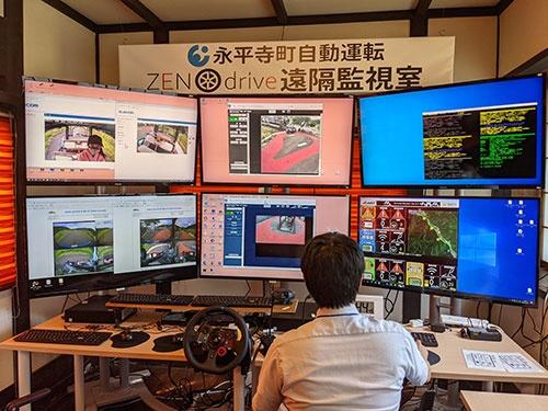 自動運転車の映像がディスプレーに映し出されている遠隔監視室