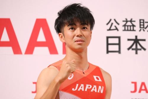 激戦の陸上日本選手権男子100メートルを制し、東京オリンピック代表の記者会見に臨んだ多田修平選手(写真:YUTAKA/アフロスポーツ)