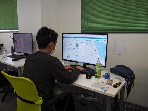 コールセンターのオペレーターが操作する画面。遠隔地であっても容易に配車できるよう、細部まで配慮された工夫がなされている