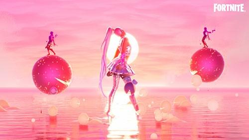 人気歌手のアリアナ・グランデは8月にフォートナイト上でライブイベントを開催して話題となった(©2021, Epic Games, Inc. )