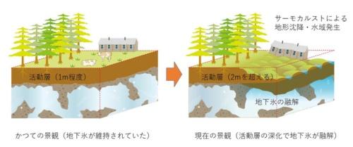 図2:サーモカルストの発達による地形と景観変化