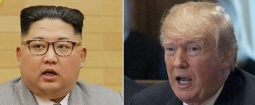 首脳会談を決めた北朝鮮の金正恩委員長(左)とトランプ米大統領