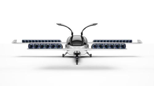 リリウムが開発中の小型飛行機。離着陸と飛行には36個のモーターを使う