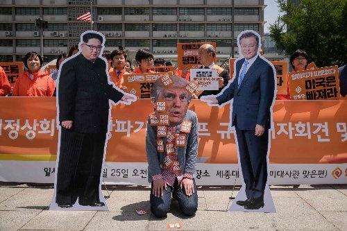 韓国で、米朝首脳会談を求める示威運動が行われた(AFP/アフロ)