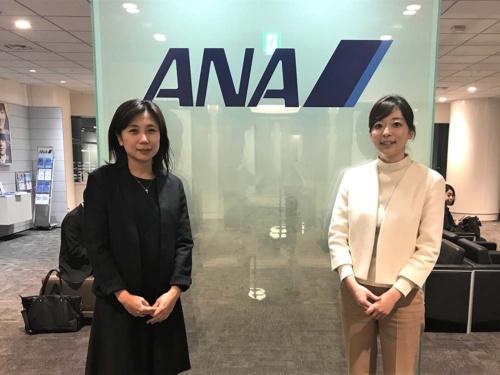 今田麻衣子・全日本空輸(ANA)CS&プロダクト・サービス室商品戦略部リーダー(左)と、直木美香子・同部アシスタントマネジャー
