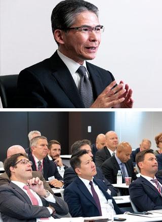 <b>各国のMR(医薬情報担当者)、マーケティング担当者らが集う会議。日本人は少数派だ</b>(写真=上:的野 弘路)