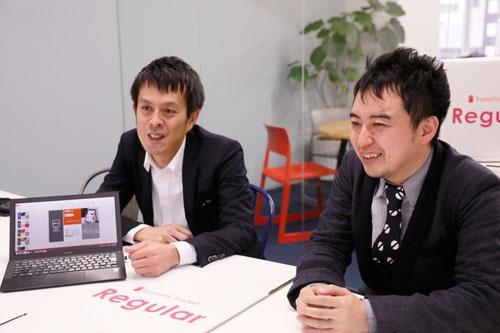 寺田倉庫執行役員の月森正憲さん(左)とサマリーCEOの山本憲資さん(写真:尾関裕士、以下同)