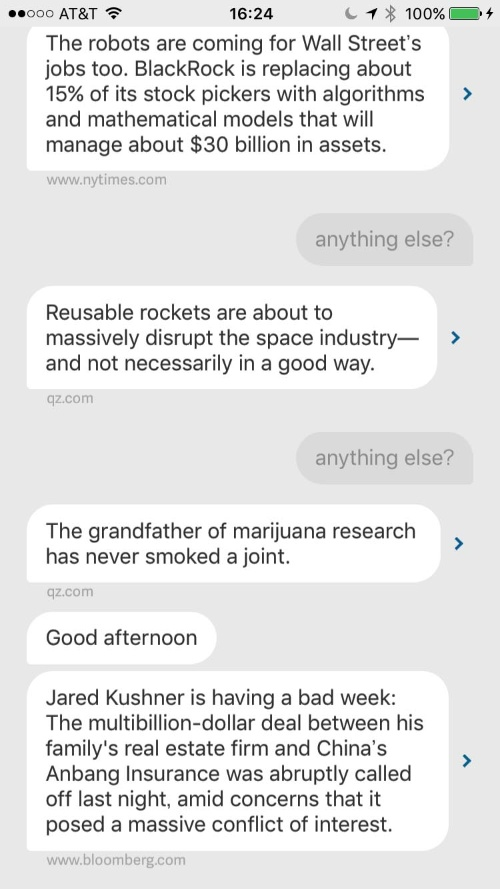 クオーツが2016年2月にiPhone向けにローンチしたアプリ。記事が並んでいるのではなく、スマホのチャットメッセージのようにおすすめ記事が出てくる