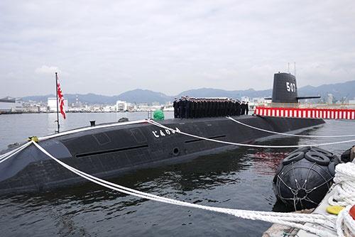 そうりゅう型潜水艦の7番艦「じんりゅう」の引き渡し式