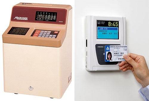 津田氏が営業マンだった頃に開発された当時の新鋭機「マイクローダー」(左)と、現在のアマノのタイムレコーダー(就業情報ターミナル)例(右)