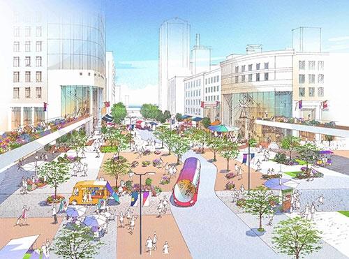 神戸市が進めている再開発計画のイメージ図。原則、歩行者と公共交通機関しか行き来できない公園として整備することで、周辺の商業施設などをより自由に回遊できるようにする狙いがある