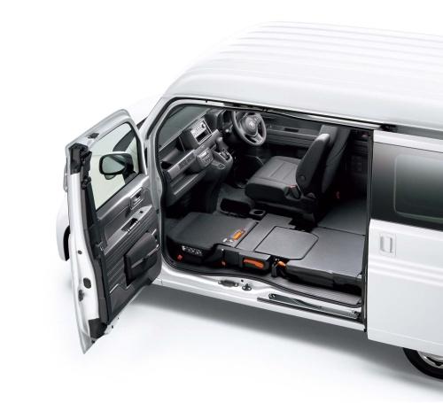 助手席側がピラーレス(後のドアを支える柱がない)で、大開口部を持つN-BOX。商用車として荷物の出し入れに便利だ。
