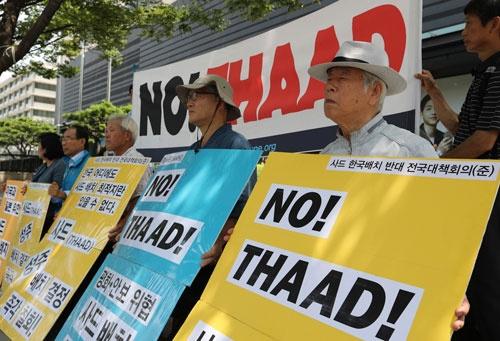 THAADの配備に反対する韓国の住民運動(写真:AP/アフロ)