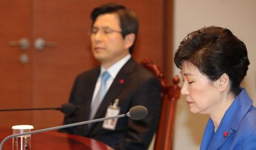 弾劾訴追案が可決された直後の朴槿恵大統領(写真:YONHAP NEWS/アフロ)