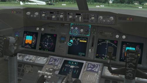ボーイング737-800型機のコックピットのイメージ。運航乗務員訓練生(パイロットの卵)が副操縦士に昇格する訓練を想定して開発された
