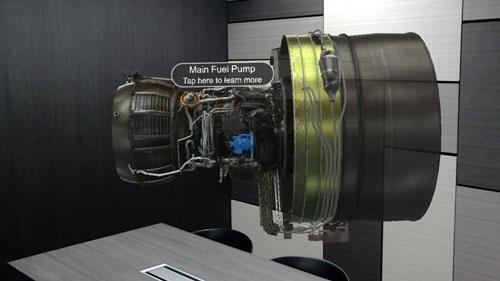 ボーイング787型用エンジンのイメージ。整備士訓練用のツールとして開発された。ホログラムは指でつまんで回転させたり、パーツの名称や機能を知ることもできる