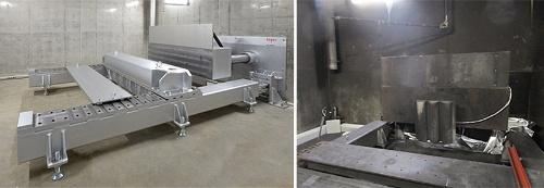 2015年9月に開設した「バッテリー安全認証センター」内の電池圧壊試験室と装置。左は開設直後の未使用状態、右は多くの試験を実施してきた現在の様子(最大荷重:1000kN、最大速度:1.5mm/s、テストエリア:W2000×H600×D2000mm)