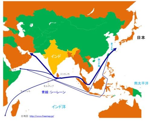 図2:モディ政権になってからインド海軍艦艇が訪問した国々(橙色)